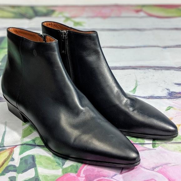 Aquatalia Fuoco Black Leather Ankle